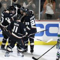 Photo - The Anaheim Ducks players celebrate a goal by Teemu Selanne (8), of Finland, next to Vancouver Canucks' Chris Tanev, right, during the first period of an NHL hockey game on Wednesday, Jan. 15, 2014, in Anaheim, Calif. (AP Photo/Jae C. Hong)