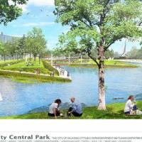 Photo - A rendering of a proposed Core to Shore park created during the MAPS 3 campaign showed amenities now found at the Myriad Gardens. Core to Shore critics are questioning the viability of the proposed park.  pfrankel