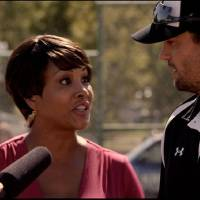 Photo - From left, Vivica A. Fox and Scott Elrod appear in a scene from the faith-based baseball drama