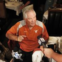 Photo - BIG 12 BASEBALL TOURNAMENT / COLLEGE BASEBAL: University of Texas baseball coach Augie Garrido speaks during the Big 12 media luncheon in Oklahoma City, Oklahoma May 25 , 2010. Photo by Steve Gooch, The Oklahoman ORG XMIT: KOD