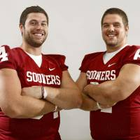 Photo - The University of Oklahoma's Gabe Ikard and Ben Habern pose for a photo during OU's college football media day in Norman, Okla., Saturday August 6, 2011. Photo by Bryan Terry, The Oklahoman