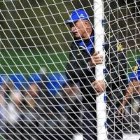 Photo - Brazil's coach Luiz Felipe Scolari, center, helps moving the goal during a practice session at the Granja Comary training center in Teresopolis, Brazil, Thursday, June 5, 2014. Brazil and Croatia competing in the opening match on June 12. (AP Photo/Hassan Ammar)