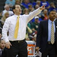 Photo - Baylor coach Scott Drew shouts at his team during the Big 12 Tournament college basketball game between the University of Oklahoma and Baylor at the Sprint Center in Kansas City, Mo., Thursday, March 13, 2014. Baylor won 78-73.  Photo by Bryan Terry, The Oklahoman