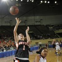 Photo - Snyder's Shyla Holman (1) shoots the ball over Northeast Shayla Williams (23) during the semi final 2A girls State Basketball Championship game between Snyder High School and Northeast High School at the State Fair Arena on Friday, March 9, 2012 in Oklahoma City, Okla.  Photo by Chris Landsberger, The Oklahoman