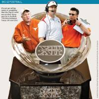 Photo - Another 3-for-all GRAPHIC: It's not out of the realm of possibility that the Big 12 could see another three-way tie in football. This time between Texas, OU and OSU. WITH PHOTOS, FROM LEFT: 1) ** FILE ** In this Nov. 15, 2008 file photo, University of Texas coach Mack Brown questions an official during the first quarter of an NCAA college football game against Kansas in Lawrence, Kan. The best chance Texas has to be crowned national champion this season likely lies with the members of the media who vote in The Associated Press college football poll. The Longhorns are the latest team to feel slighted by the Bowl Championship Series, though the twist this time was coach Mack Brown's team has the Big 12 to blame as much as the BCS standings. (AP Photo/Charlie Riedel, File)      2)  OU college football head coach Bob Stoops (PHOTO UNAVAILABLE)    3) OSU college football head coach Mike Gundy     (PHOTO UNAVAILABLE)     4) Big 12 football trophy (PHOTO UNAVAILABLE)