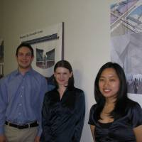 Photo - UNIVERSITY OF OKLAHOMA, OU ARCHITECTURE STUDENTS: Brent Gathright, Kimberly Monroe and Kyung Namgoong each have their own vision for how a new convention center might anchor Oklahoma City's Core to Shore. BY STEVE LACKMEYER, THE OKLAHOMAN ORG XMIT: 0804302047180316
