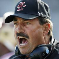 Photo -   Boston College head coach Frank Spaziani yells instructions in the first quarter of an NCAA college football game against Maryland in Boston, Saturday, Oct. 27, 2012. Boston College won 20-17. (AP Photo/Michael Dwyer)