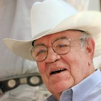 Photo - DEATH / DIED JULY 7, 2008: Clem McSpadden at the Clem McSpadden Bushyhead Labor Day Pasture Roping