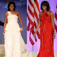 Photo - This combo image shows first lady Michelle Obama as she arrives at the Inaugural Ball in Washington on Jan. 21, 2009, left, and Jan. 21, 2013, right. Michelle Obama made it a fashion tradition Monday night, wearing a custom-made Jason Wu gown to the inaugural balls. The ruby-colored dress was a follow-up to the white gown Wu made for her four years ago when she was new to Washington, the pomp and circumstance, and the fashion press. (AP Photos/Jacquelyn Martin, Pablo Martinez Monsivais)