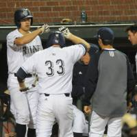 Photo - UC Irvine's Taylor Sparks congratulates Connor Spencer (33) on a run against Oregon during an NCAA college baseball regional tournament game in Corvallis, Ore., Monday, June 2, 2014. (AP Photo/Mark Ylen)