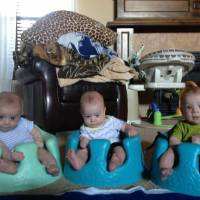 Photo - Naturally conceived identical triplet boys Asher, Keaton and Piernan Peebles were born April 25 at Mercy Hospital in Oklahoma City.   - Photo provided