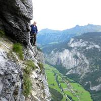 Photo - For the thrill of a lifetime in Switzerland, try hiking along a via ferrata, a mountain route with fixed cables, metal loops, and ladders. Photo by Rick Steves