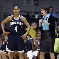Photo - Notre Dame coach Muffet McGraw, right, talks to Skylar Diggins during a break in play in the first half of an NCAA college basketball game against Villanova, Tuesday, Feb. 5, 2013, in Villanova, Pa.  (AP Photo/Michael Perez)
