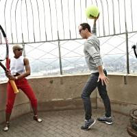 Photo - This handout provided by the United States Tennis Association shows Noelle Scaggs, left, and Fitz, of Fitz and the Tantrums, posed on the observation deck of the Empire State Building in New York. Fitz and The Tantrums and 3 Winans Brothers will be the headlining acts for the opening ceremony at the U.S. Open tennis tournament, scheduled for Aug. 25, 2014. (AP Photo/USTA, Jennifer Pottheiser)