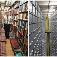 Photo - This combination of Associated Press file photos shows Steven Herman, right, head of the Library of Congress storage facility, at the Library of Congress in 2003, in Washington,  and left, a