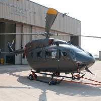 Photo - An American Eurocopter UH-72 Lakota helicopter stands on display outside an Oklahoma National Guard hanger in Lexington. The helicopter is one of four that will be replacing the Kiowa helicopters that have been in service more than 20 years. Photo provided  Spc. Elijah Morlett