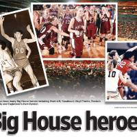 Photo - Big House Heroes GRAPHIC WITH PHOTOS: 1) (Sasakwa's Virgil Frank) Photo unavailable 2) Callie Slate of Pocola walks foward to receive her individual award for Pocola's win over Walters during the class 2A girls state high school basketball championship at the State Fair Arena in Oklahoma City, Saturday March 8, 2008. Slate made the game-winning basket. BY BRYAN TERRY, THE OKLAHOMAN 3) (Eagletown's Pam Pennon) Photo unavailable 4) (Background photo) A record crowd watches Verdigris play Sequoyah-Tahlequah in the class 3A boys state high school basketball championship at the State Fair Arena in Oklahoma City, Saturday March 8, 2008.  BY BRYAN TERRY, THE OKLAHOMAN
