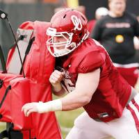 Photo -  Offensive lineman Ty Darlington participates in Sooner spring football drills at University of Oklahoma (OU) on Tuesday, March 12, 2013 in Norman, Okla.  Photo by Steve Sisney, The Oklahoman
