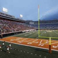 Photo - ORANGE AND WHITE GAME / COLLEGE FOOTBALL / OSU: A view of the west end zone and south stands during the Orange and White spring football game for the Oklahoma State University Cowboys at Boone Pickens Stadium in Stillwater, Okla., Saturday, April 18, 2009. The Orange team won, 20-15. Photo by Nate Billings, The Oklahoman ORG XMIT: KOD