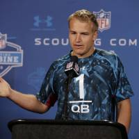 Photo - Southern California quarterback Matt Barkley answers a question during a news conference at the NFL football scouting combine in Indianapolis, Friday, Feb. 22, 2013. (AP Photo/Michael Conroy)