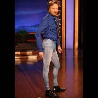 Photo - Conan O'Brien models a pair of men's jeggings on his talk show in 2010. Photo is a screen shot from video.