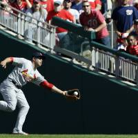 Photo -   St. Louis Cardinals right fielder Carlos Beltran catches a fly ball that was hit by Washington Nationals' Jayson Werth in the third inning of Game 3 of the National League division baseball series on Wednesday, Oct. 10, 2012, in Washington. (AP Photo/Pablo Martinez Monsivais)