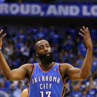 Photo - Oklahoma City's James Harden celebrates during Game 4 of the first round in the NBA playoffs between the Oklahoma City Thunder and the Dallas Mavericks at American Airlines Center in Dallas, Saturday, May 5, 2012. Oklahoma City won 103-97. Photo by Bryan Terry, The Oklahoman