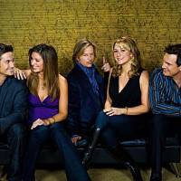 Photo -  RULES OF ENGAGEMENT,  a comedy about the different phases of male/female relationships, as seen the through the eyes of an engaged couple, a long-time married pair and a single guy on the prowl. Pictured (L-R)  Oliver Hudson, Bianca Kajlich, David Spade,  Megyn Price and  Patrick Warburton  in the CBS series RULES OF ENGAGEMENT season premieres Monday, March 2 at 9:30 PM  on the CBS Television Network. Photo: Monty Brinton/CBS ©2008 CBS Broadcasting Inc. All Rights Reserved.