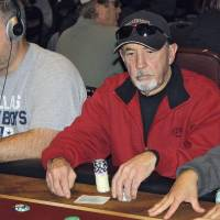 Photo - Val Wood, of Durant, plays in the main event of the Choctaw Casino's Native American Casino Poker Tour. Photo by Sean Chaffin