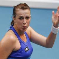 Photo - Anastasia Pavlyuchenkova of Russia reacts after losing a point against to Sara Errani of Italy during the final match of the 22st Gaz de France WTA Open 2014 tennis tournament at Coubertin stadium, in Paris, Sunday Feb. 2, 2014. (AP Photo/Jacques Brinon)