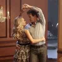 Photo - This image released by NBC shows Carrie Underwood as Maria, left, and Stephen Moyer as Captain Von Trapp during a rehearsal for