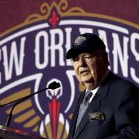 Photo - New Orleans Hornets owner Tom Benson speaks at a news conference announcing that the NBA basketball team's name will change from the Hornets to the Pelicans starting next season, Thursday, Jan. 24, 2013, in New Orleans. (AP Photo/Gerald Herbert)