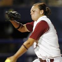 Photo - COLLEGE SOFTBALL: Charlotte Morgan (34) pitches for Alabama during the softball game in the Women's College World Series between Louisiana-Lafayette and the University of Alabama at ASA Hall of Fame Stadium in Oklahoma City, Saturday, May 31, 2008. BY NATE BILLINGS, THE OKLAHOMAN ORG XMIT: KOD