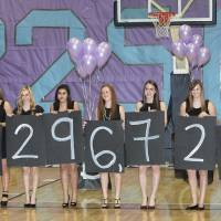 Photo - Students hold up the amount collected for BALTO during the assembly at Edmond North High School.