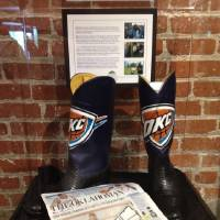Photo - The boots given to Charles Barkley during his Oklahoma City visit. PHOTO PROVIDED BY OKLAHOMA CITY MEMORIAL & MUSEUM
