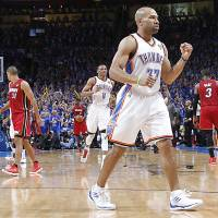 Photo - NBA BASKETBALL / REACTION: Oklahoma City's Derek Fisher (37) reacts after hitting a shot during Game 1 of the NBA Finals between the Oklahoma City Thunder and the Miami Heat at Chesapeake Energy Arena in Oklahoma City, Tuesday, June 12, 2012. Photo by Chris Landsberger, The Oklahoman
