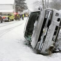 Photo - A Chevrolet Blazer went into a ditch and rolled onto its passenger side on a snow-covered Cherry Street in Rockefeller Township, Northumberland County, Pa. on Monday, March 18, 2013.  A mother and daughter escaped injury State police at Stonington did not provide any additional information. (AP Photo/The News-Item, Larry Deklinski)