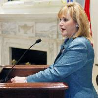 Photo - Governor Mary Fallin speaks during a pinning ceremony for Brigadier General Walter Fountain at the State Capitol in Oklahoma City, OK, Friday, Dec. 2, 2011. By Paul Hellstern, The Oklahoman ORG XMIT: KOD