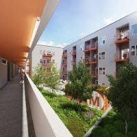 Photo - The interior courtyard of the future Mosaic Apartments is shown in this rendering.  Allford Hall Monaghan Morris
