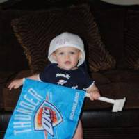 Photo -  Tate was crazy excited for the Playoff game in OKC that he coudn't contain his excitement!