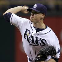 Photo -   Tampa Bay Rays starting pitcher Jeremy Hellickson delivers to the Los Angeles Angels during the first inning of a baseball game, Wednesday, April 25, 2012, in St. Petersburg, Fla. (AP Photo/Chris O'Meara)