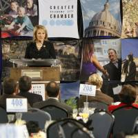 Photo - Gov. Mary Fallin speaks to the Greater Oklahoma City Chamber of Commerce Thursday during a breakfast at Oklahoma Christian University in Oklahoma City. Photo By Paul Hellstern, The Oklahoman  PAUL HELLSTERN - Oklahoman