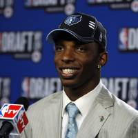 Photo - University of Connecticut's Hasheem Thabeet takes questions in the interview room after being selected by the Memphis Grizzlies as the No. 2 pick in the first round of the NBA basketball draft Thursday, June 25, 2009, in New York.  (AP Photo/Jason DeCrow) ORG XMIT: NYJD104