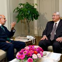 Photo - FILE - This Saturday, July 6, 2013 file photo released by the office of the Egyptian Presidency on Saturday, July 6, 2013 shows Mohamed Elbaradei, left, meeting with interim president Adly Mansour, right, at the presidential palace. Liberal and youth movements that backed the military's removal of Islamist President Mohammed Morsi are now fighting to make their calls for reform heard as they push back against the military's strong grip on the new leadership. At stake is the hope that the Arab world's most populous nation will emerge from more than two years of turmoil as a democracy. (AP Photo/Egyptian Presidency, File)