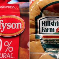 Photo - FILE - This file photo combo shows a package of frozen Tyson Chicken Nuggets, left, and a package of Hillshire Farm sausage, in Palo Alto, Calif. Meat producer Tyson Foods Inc. has won a bidding war for Hillshire Brands, the maker of Jimmy Dean sausages and Ball Park hot dogs, with a $63 per share offer, the companies announced Monday, June 9, 2014. (AP Photo/Paul Sakuma, File)
