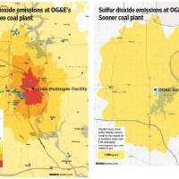 Photo - The Sierra Club commissioned an analysis of how two Oklahoma Gas and Electric Co. coal plants would fare under new standards for sulfur dioxide emissions. The maps show higher levels of concentrations of sulfur dioxide than would be allowed under one-hour limits established by the Environmental Protection Agency in 2010. OG&E said air quality monitoring data shows its plants meet existing federal and state standards.