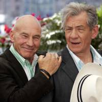 Photo - FILE - This May 22, 2006 file photo shows actors Patrick Stewart, left, and Ian McKellen during a photo call for the film