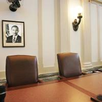 Photo - A portrait of President Barack Obama hangs on a wall in 2009 in the state House chamber. photo BY JIM BECKEL, OKLAHOMAN archive