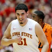 Photo - Iowa State forward Georges Niang pounds on his chest after hitting a 3-pointer against Oklahoma State during the first half of an NCAA college basketball game, Wednesday, March 6, 2013, in Ames, Iowa. (AP Photo/Justin Hayworth)