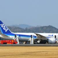 "Photo - An All Nippon Airways flight sits at Takamatsu airport in Takamatsu, western Japan after it made an emergency landing Wednesday, Jan. 16, 2013. The flight to Tokyo from Ube in western Japan landed at the airport after a cockpit message showed battery problems, in the latest trouble for the Boeing 787 ""Dreamliner."" (AP Photo/Kyodo News) JAPAN OUT, MANDATORY CREDIT, NO LICENSING IN CHINA, HONG KONG, JAPAN, SOUTH KOREA AND FRANCE"